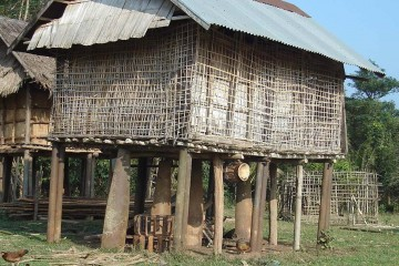 Unexploded mines still affect more than 25 per cent of Lao villages. In Sekong Province, UXOs are used in daily life. ©CARE