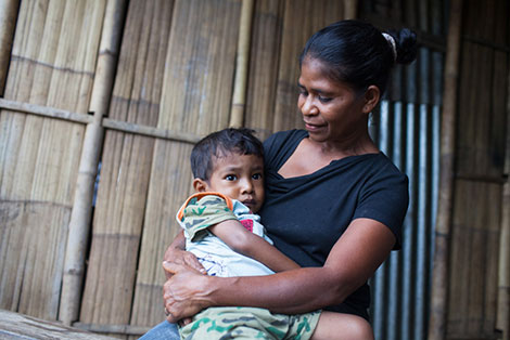 Isabel with her son, Luis*, who has been identified as being malnourished.