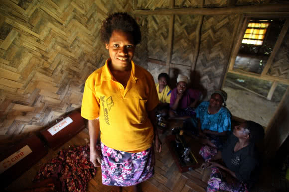 Evelyn, 24-yearls-old, is a member of a Motherhood Skills Groups CARE supports in Papua New Guinea. The groups learns how to improve their family's health and new skills, such as sewing, to earn an income. Image: Josh Estey/CARE