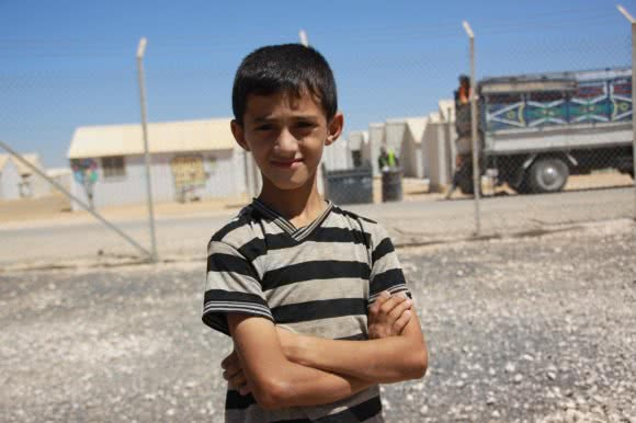Adnan* (10), a soon-to-be student at Jordan's Azraq camp's school.