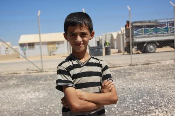 Adnan* (10), a soon-to-be student at Jordan's Azraq camp's school.