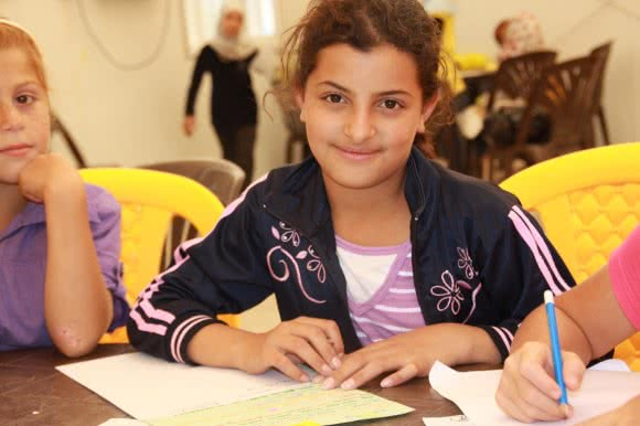 Zeinah* (15), a student at Jordan's Azraq camp's school.
