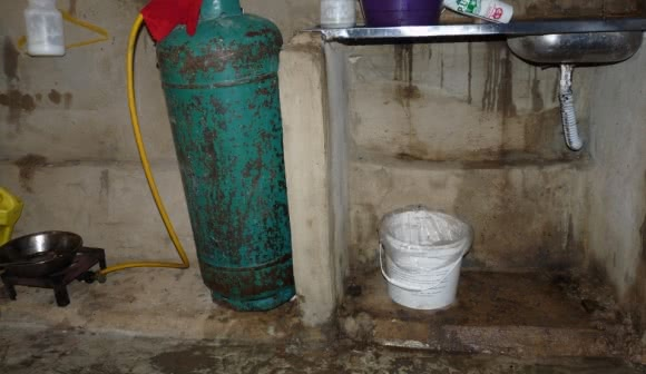 The bathroom/kitchen of a Syrian family