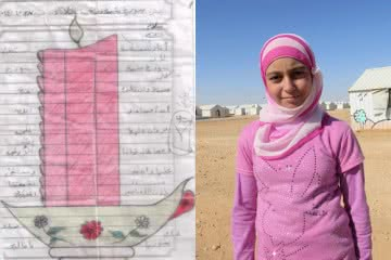 "11-year-old Amira is a Syrian refugee. She has drawn a picture of a candle: ""Syria is like a lit candle that will never turn off""."