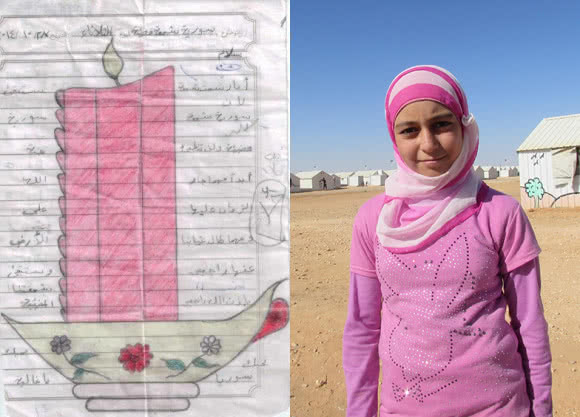 11-year-old Amira is a Syrian refugee. She has drawn a picture of a candle: