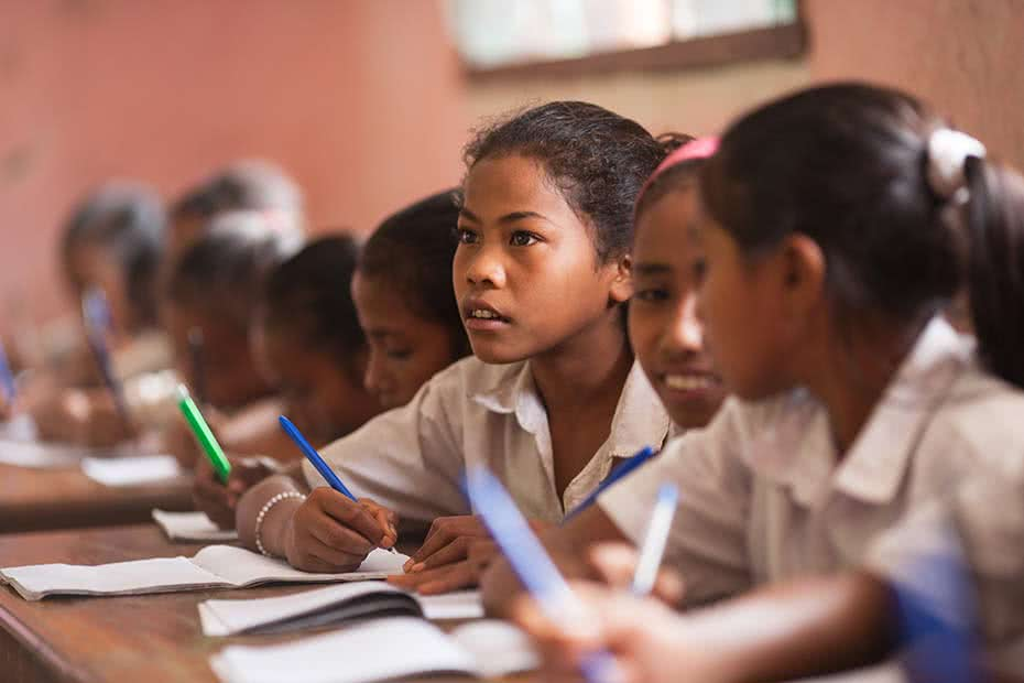 Timorese girls learning at school.