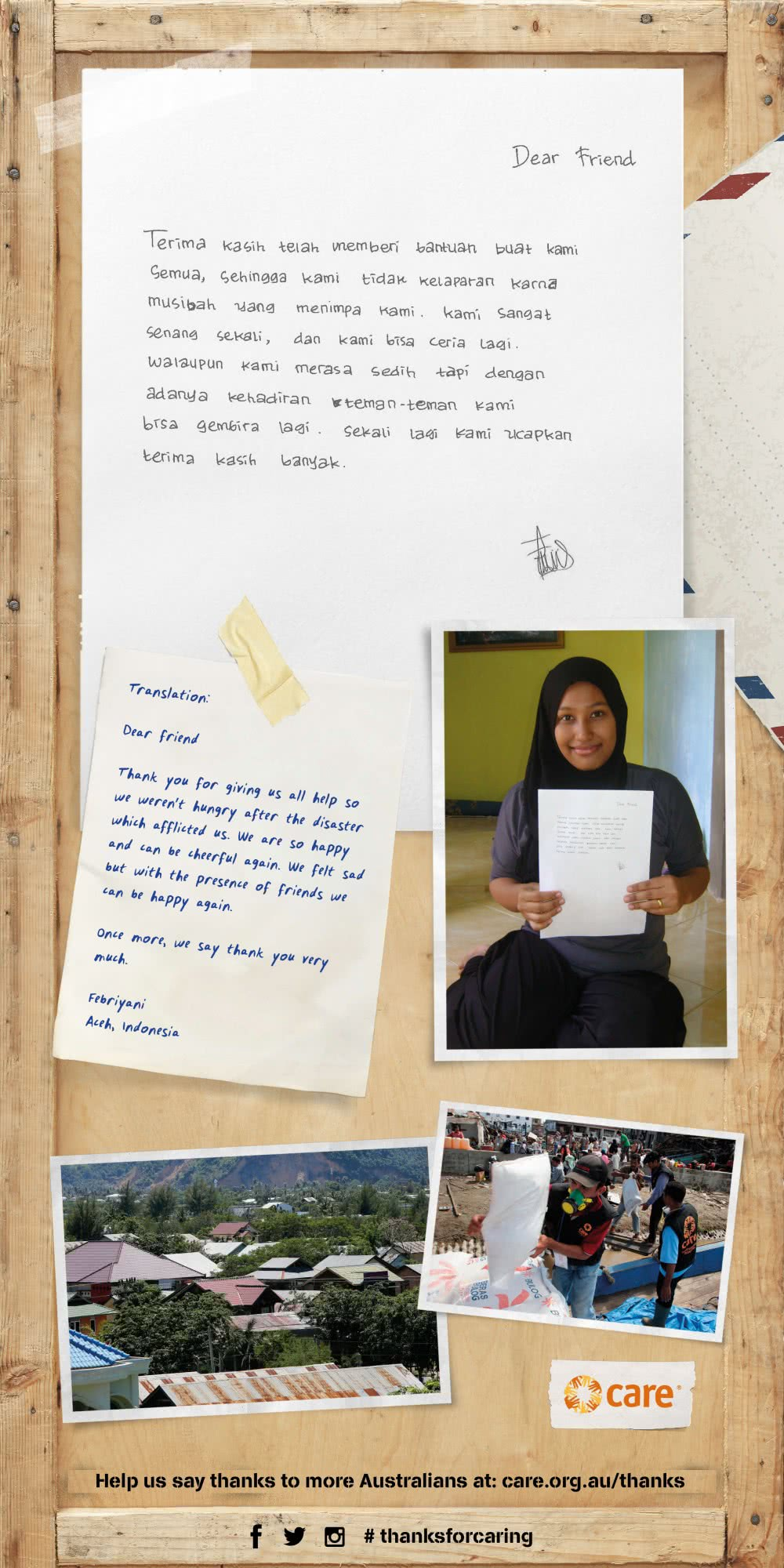 Thank you letter from Febriyani, Indonesia