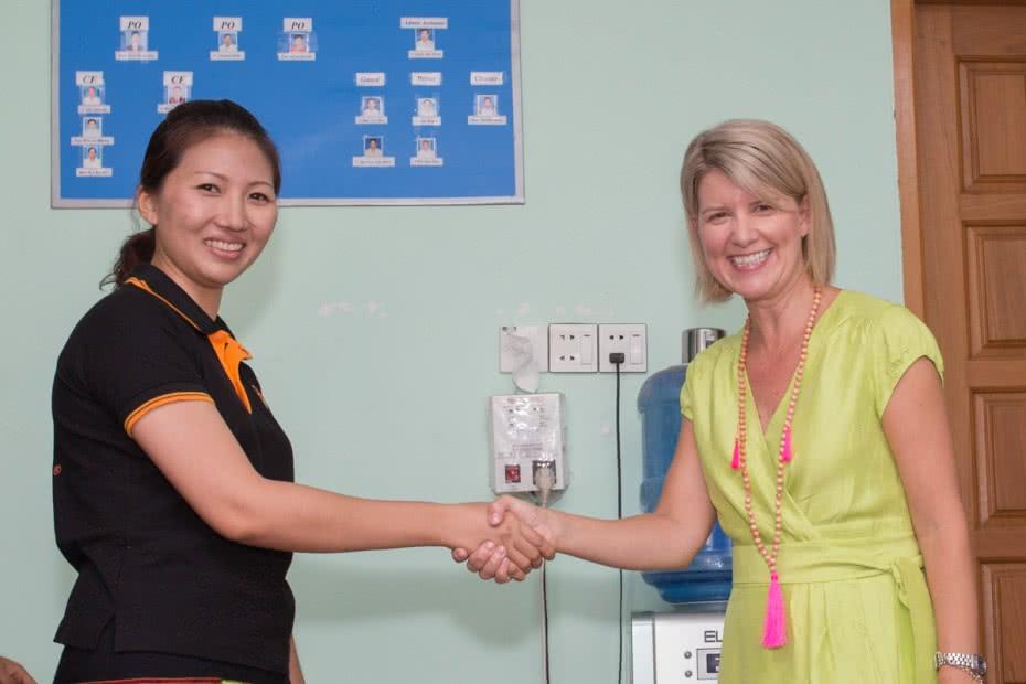 Australia's Ambassador for Women & Girls, Natasha Stott Despoja, visited CARE's Safe Environment for Migrant Women project on the outskirts of Yangon, Myanmar.