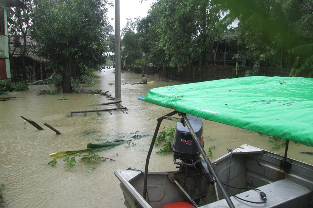 Flooded street in Myanmar