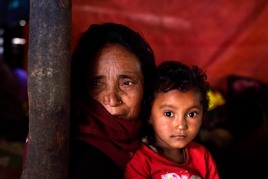 Elderly woman and young child affected by the Nepal Earthquake