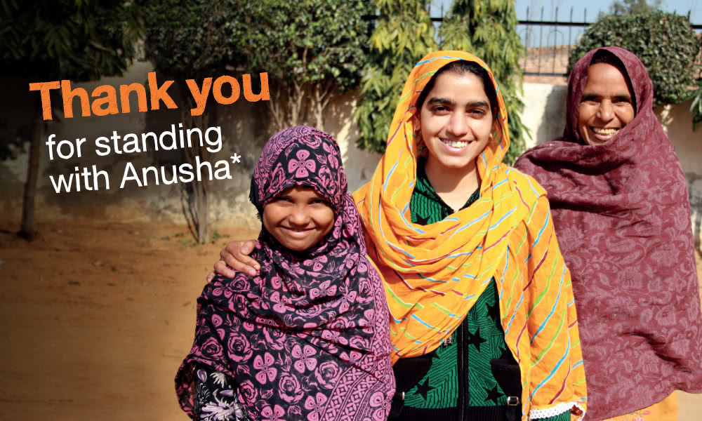Thanks to our supporters, girls like Anusha are closer to gaining gender equality.