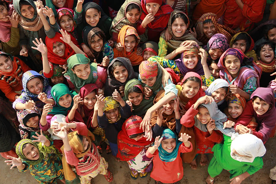 Anusha and her friends in their remote northern Indian village.