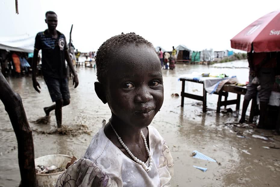 A child in the rain in South Sudan