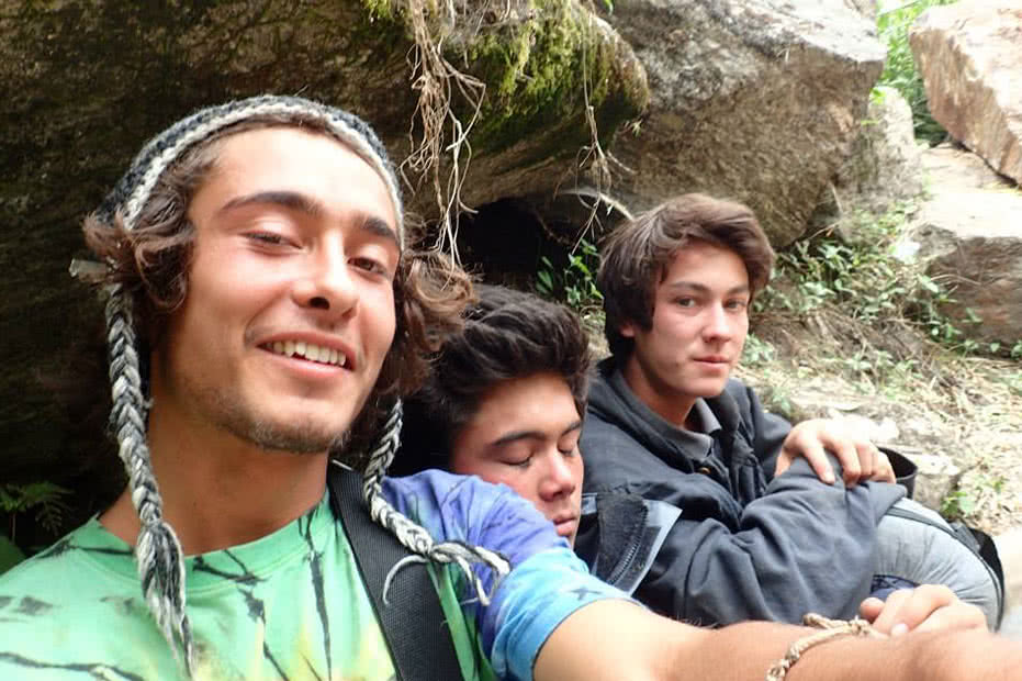 Raoul (left) took this selfie 30 minutes after the first quake. Him and his friends Jalada and Rin sheltered behind a boulder.