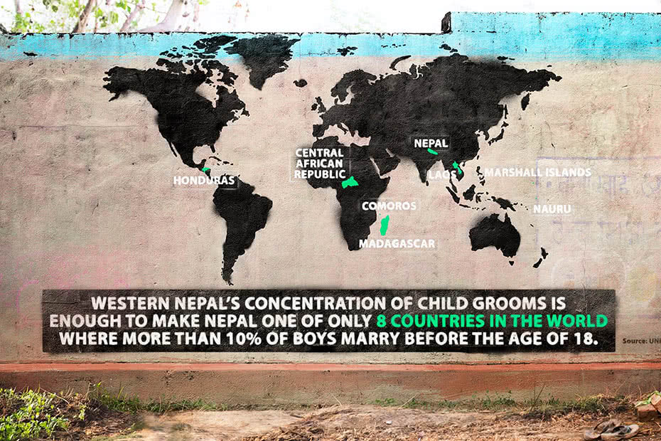 Artwork with text: Western Nepal's concentration of child groom is enough to make Nepal one of only eight countries in the world where more than 10 per cent of boys marry before the age of 18.