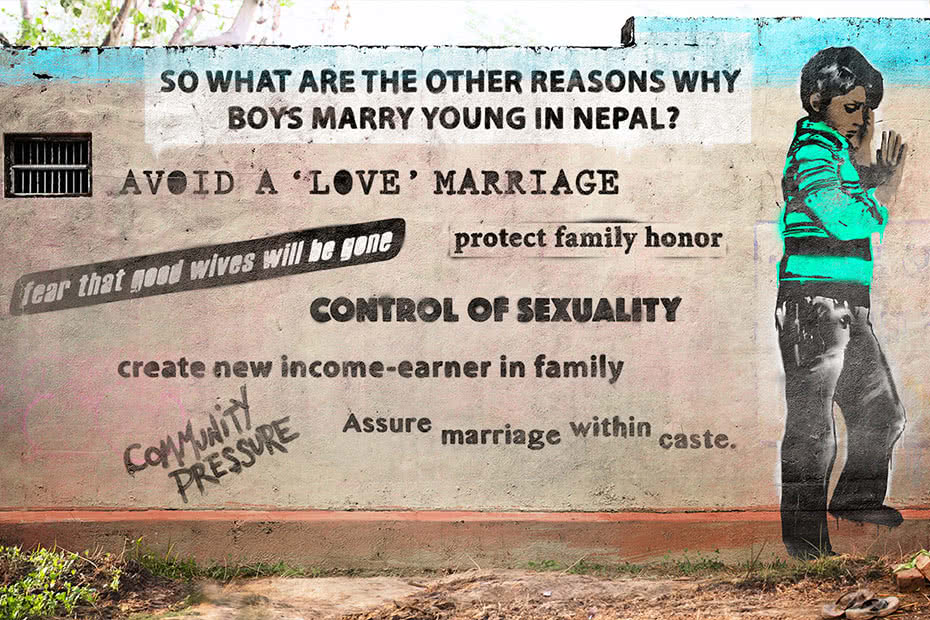 Art on wall with text: So what are the reasons why boys marry young in Nepal?