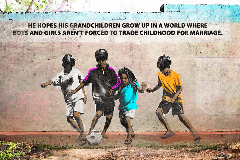 Art on wall of kids playing soccer with text: He hopes his grandchildren will grow up in a world where boys and girls aren't forced to trade childhood for marriage.