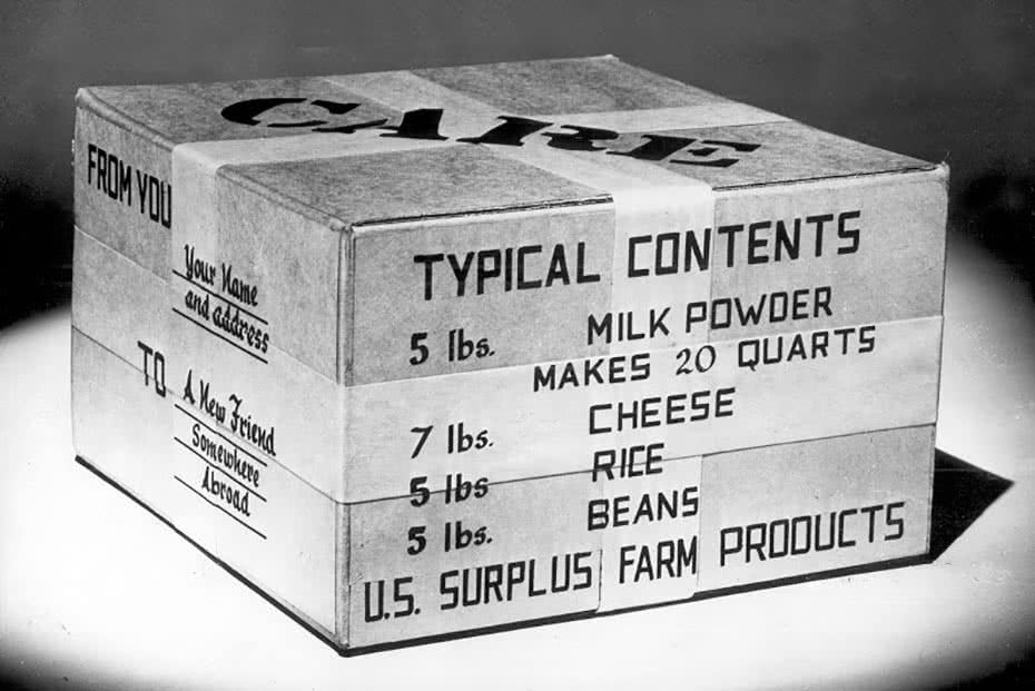 A photo of a typical CARE package sent back in the 1950s.