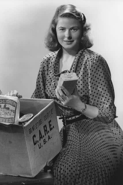 Historical photo of actress Ingrid Bergman championing CARE packages.
