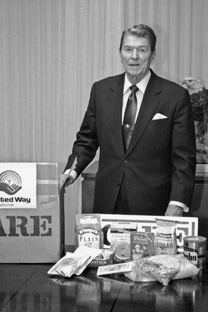 Former US President Ronald Reagan also got behind the CARE cause.