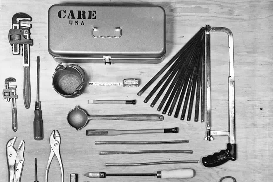A historical image of a handyman CARE package.