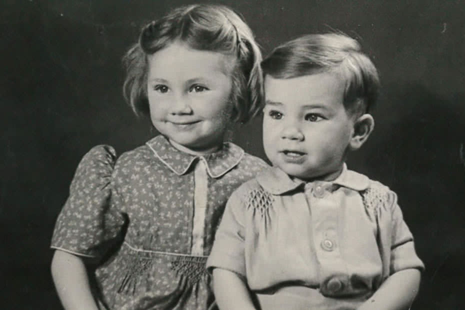 Gillian Roberts and her brother Christopher, photographed in September 1947.