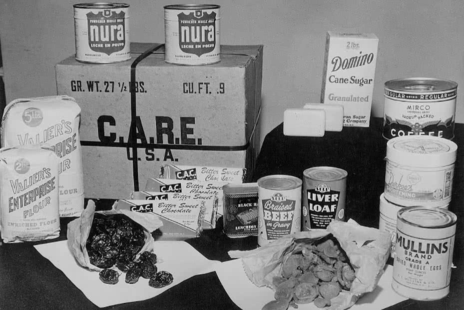An original CARE package featuring food supplies for impoverished families.