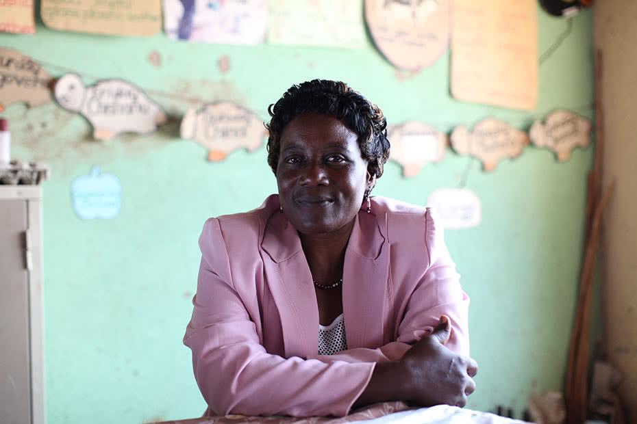 A teacher in her classroom in Zimbabwe.