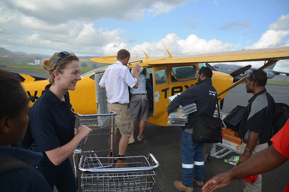 CARE's Charlie Damon during Cyclone Pam response efforts.