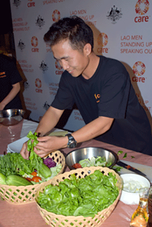 A contestant picks the best produce for his perfect spring roll.