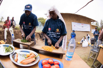 People prepare a nutrition meal.