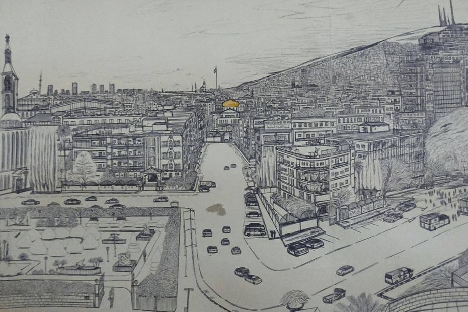 A drawing by 16-year-old Syrian refugee Kharam. He drew cities in his home country of Syria by memory.