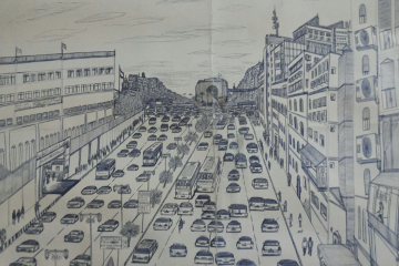 Drawings by 16-year-old Syrian refugee Karim of Syrian cities by memory.