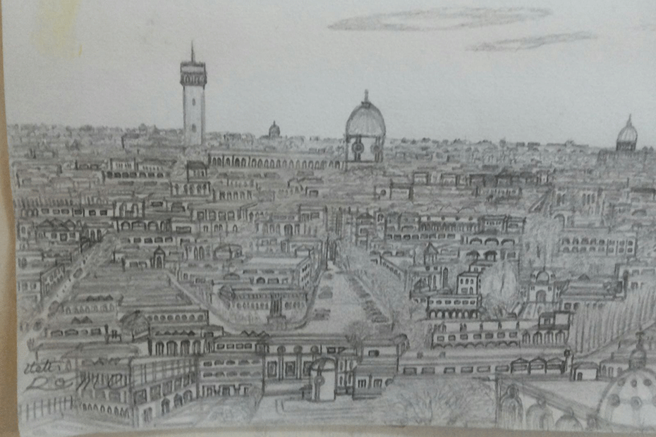 16-year-old Syrian refugee Kharam drew these images of Syrian cities from memory, after being forced to flee with his family.