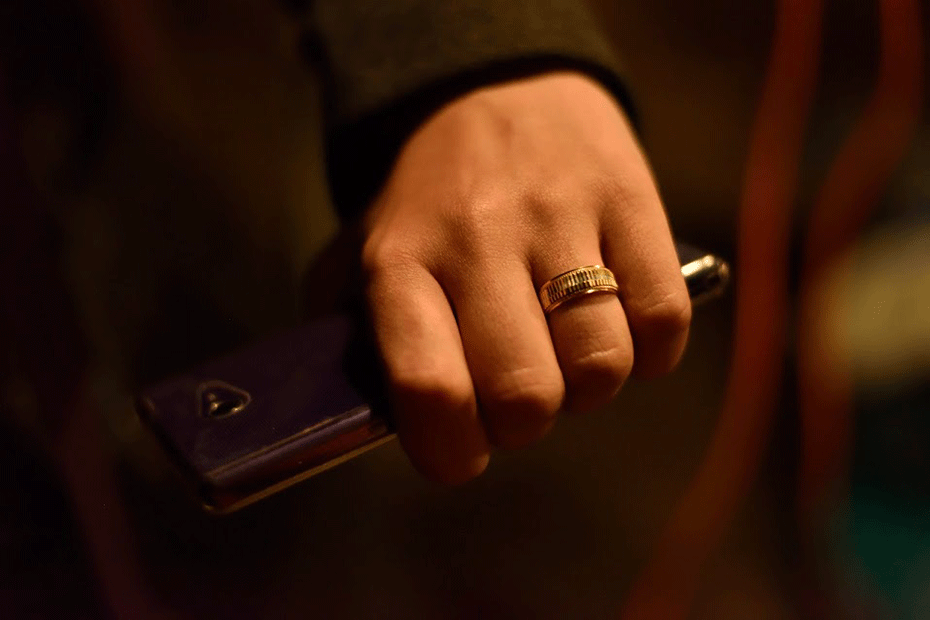 Syrian refugee Noor's wedding ring. She got married just before her and her husband left Syria.