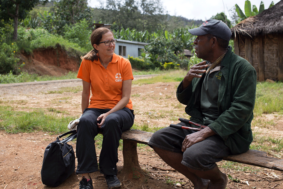CARE Australia CEO Julia Newton-Howes (left) chat with local community members in Papua New Guinea.