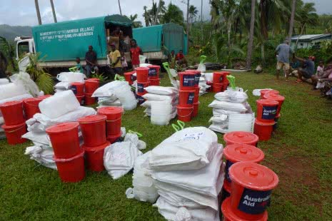 Nalawa District, Nawairuku Village, Emergency WASH and Shelter Kits ready to be distributed. Credit Siobhan Talty 21 April 2016 JPG