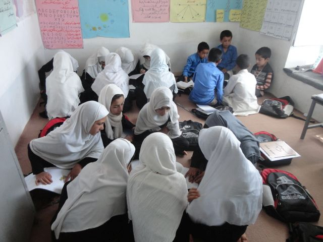 a class of school children in Afghanistan