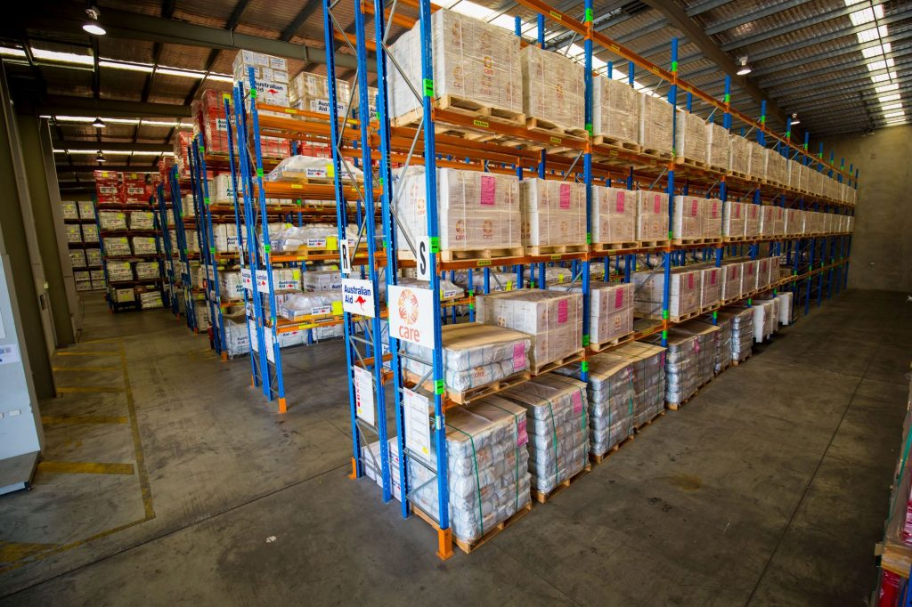 Disaster supplies in warehouse