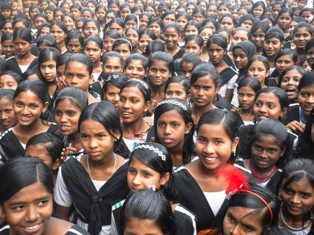 A large group of female students at Katakhali Public High School, Bangladesh