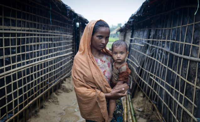 Woman & child in refugee camp
