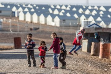 Syrian refugee children in the sprawling Azraq refugee camp in East Jordan.
